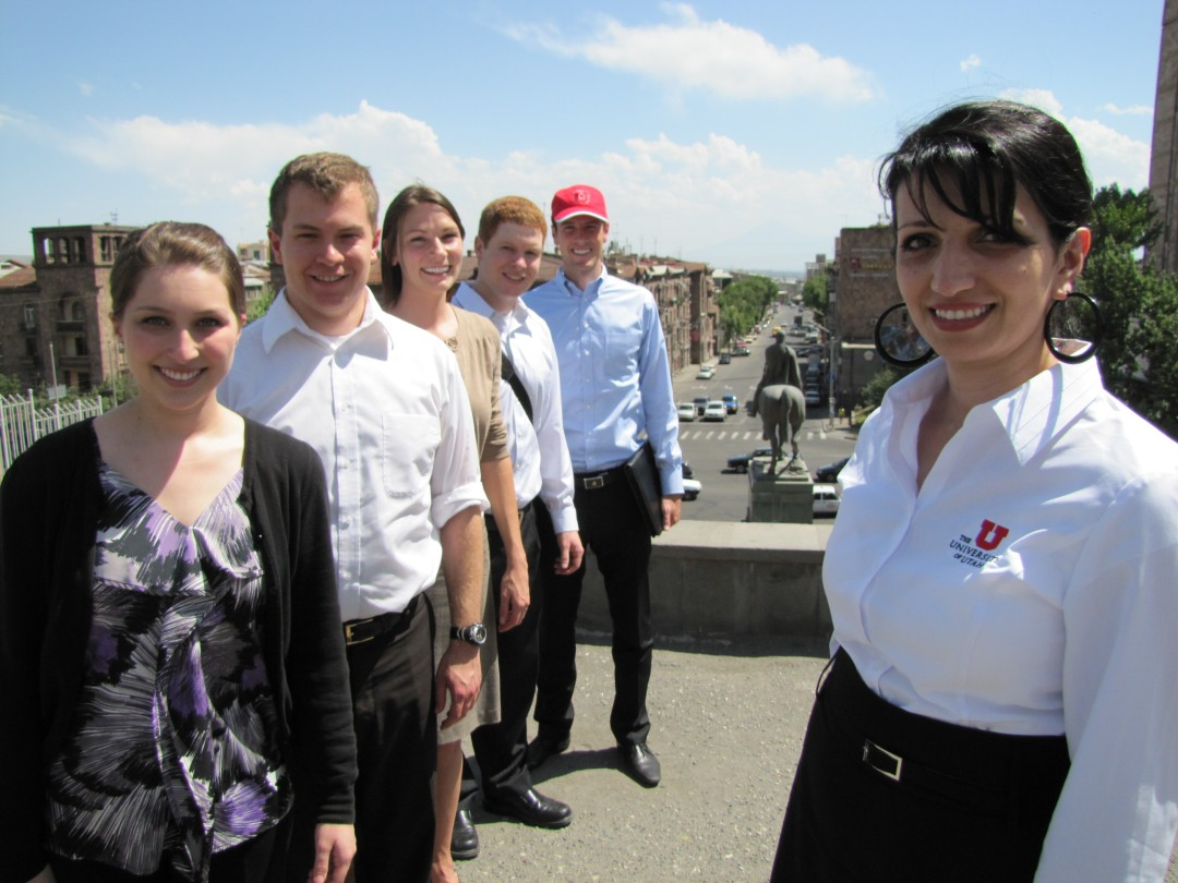 Dr. Hripsime Z. Wright and the 2010 University of Utah Study Abroad Group in downtown Yerevan