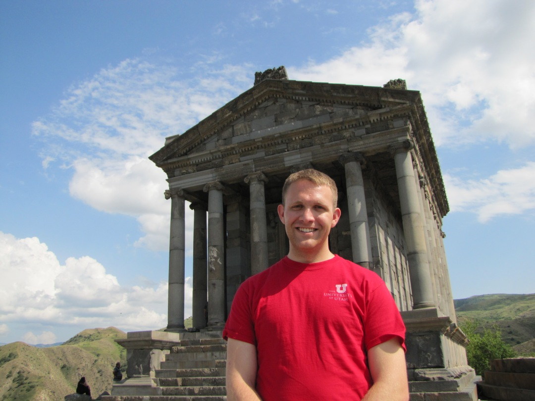 Paul M. Hinckley outside of Armenia's Garni Temple